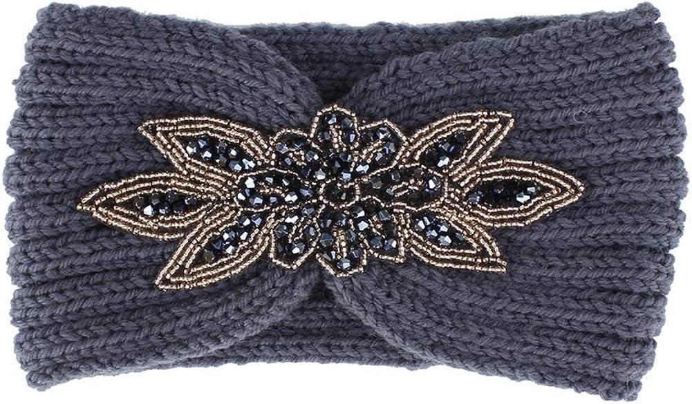 Polytree Women Knitted Headbands Winter Warm Head Wrap Rhinestone Flower Wide Hair Accessories