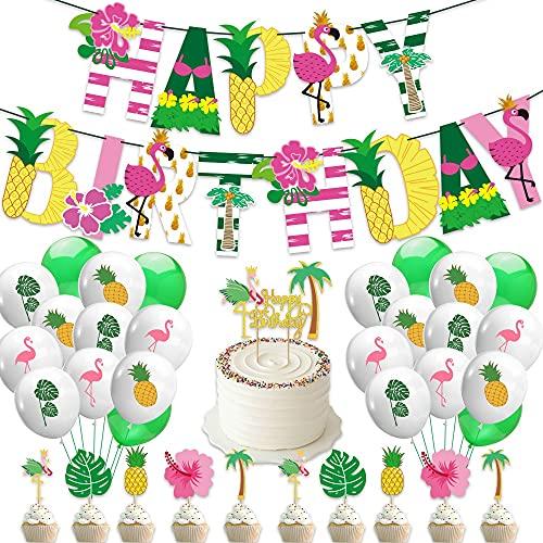 AngYou Hawaii cumpleaños Tema Fiesta decoración Globo Pastel Bandera Banner Conjunto Flamingo piña Tortuga Hoja (Style : Package 1)