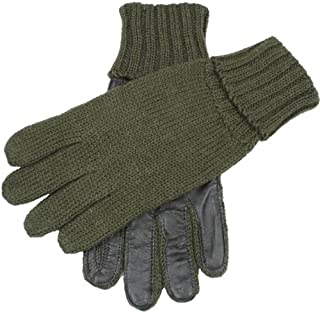 Dents Mens Browning Knitted Shooting Leather Palm Gloves - Olive