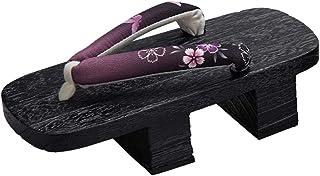 Jiyaru Womens Geta Sandals High Heel Clog Flip Flop Slippers Wodden Japanese Style Footwear Two Teeth