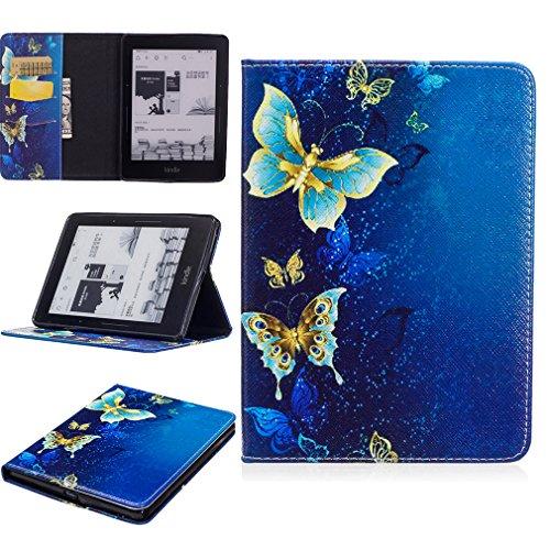 LMAZWUFULM Hülle für Amazon Kindle Voyage 3G 6,0 Zoll PU Leder Mode Lederhülle Gold Schmetterlinge unter Tief Meer Muster Standfunktion Schutzhülle Ledertasche Flip Cover für Kindle Voyage