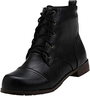Aubbly Womens Boots Square Heels Ladies Shoes Women Lace Up Thick Shoe Round Fashion Casual Short Booties