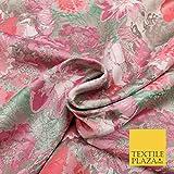 Brokatstoff mit floralem Gardenien-Muster, Rosa / Blush