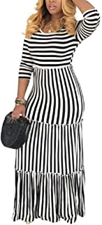 MU2M Women's O-Neck Long Sleeve Casual Stitching Stripe Long Maxi Dress