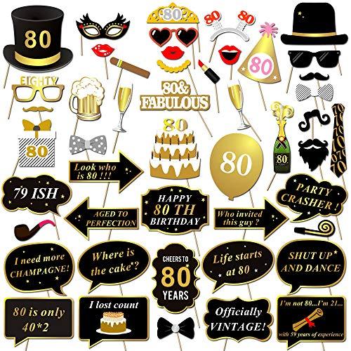 HOWAF 80 años cumpleaños Foto Booth Props, 48Pcs cumpleaños DIY Photo Booth Atrezzo Favorecer Accesorios Photocall para Hombre muje Decoraciones de Fiesta de 80 años cumpleaños