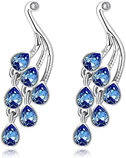 Sukkhi Crystals from Swarovski Drop Down Platinum PlatedPeacock Earring for Women and Girls (E81071)