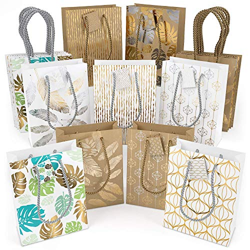 "ARTEZA Gift Bags 9.5""x7""x3.4"", Set of 18pcs (9 Mixed Designs, 2 pcs Each Design), Perfect for Any Holiday Occasion, Graduations, Birthday Parties and More!"