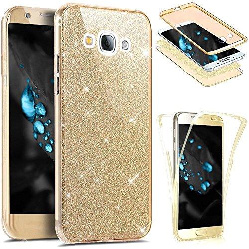 Etsue Coque Compatible avec Samsung Galaxy Grand Prime Etui Intégral 360 Degres Full Body Protection Coque Bling Brillant Glitter Transparent Coque Avant arrière Souple TPU Coque Galaxy Grand Prime