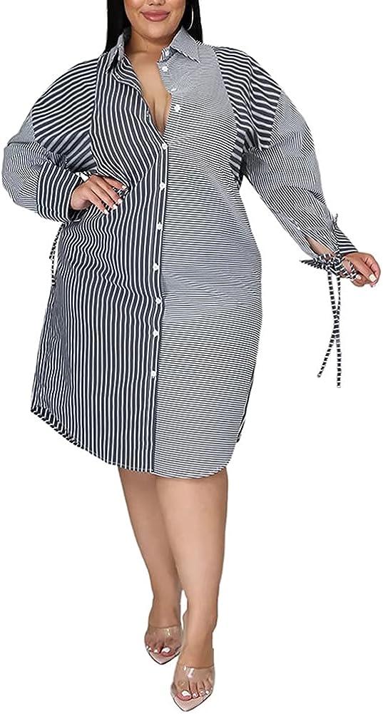 IyMoo Women's Plus Size Button Down Shirt Dress Long Sleeve Oversized Shirts Color Block Loose Blouses Striped Dress