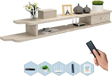 TV Cabinet, TV Lowboard, Floating Shelves, Wall Mounted TV Media Console, Set-Top Box Storage Partition, A Variety of Colors,