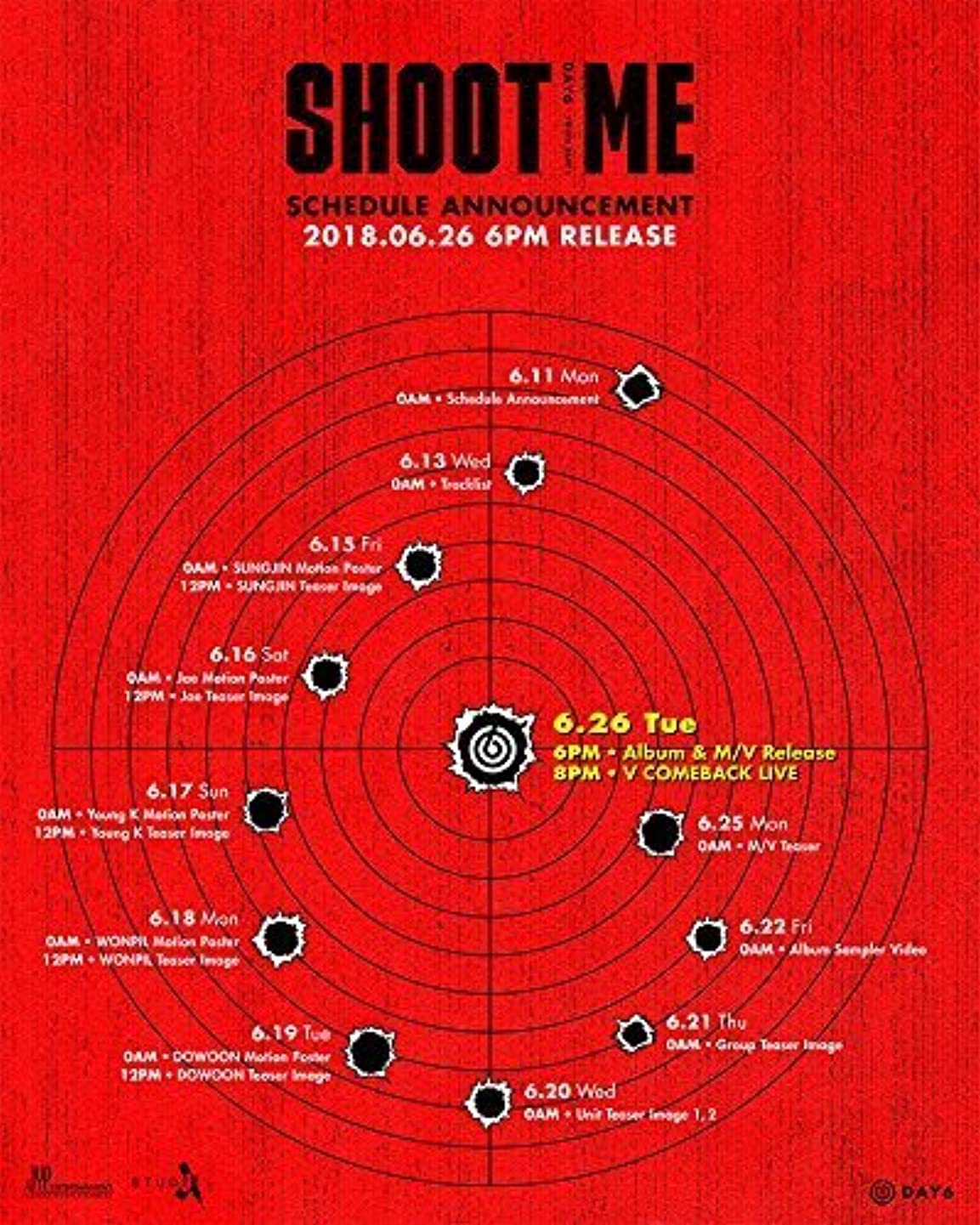 DAY6 - Shoot Me : Youth Part 1 (Bullet + Trigger, All Versions Set) 2CD + Photobook + Clear Cover + Photocards + Tatoo Sticker + POPUP Cards + 2Folded Posters + Extra Photocard Set