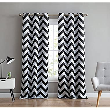 HLC.ME Chevron Print Thermal Insulated Room Darkening Blackout Window Curtain Panels for Living Room - Set of 2 - 37  W x 84  L - Black