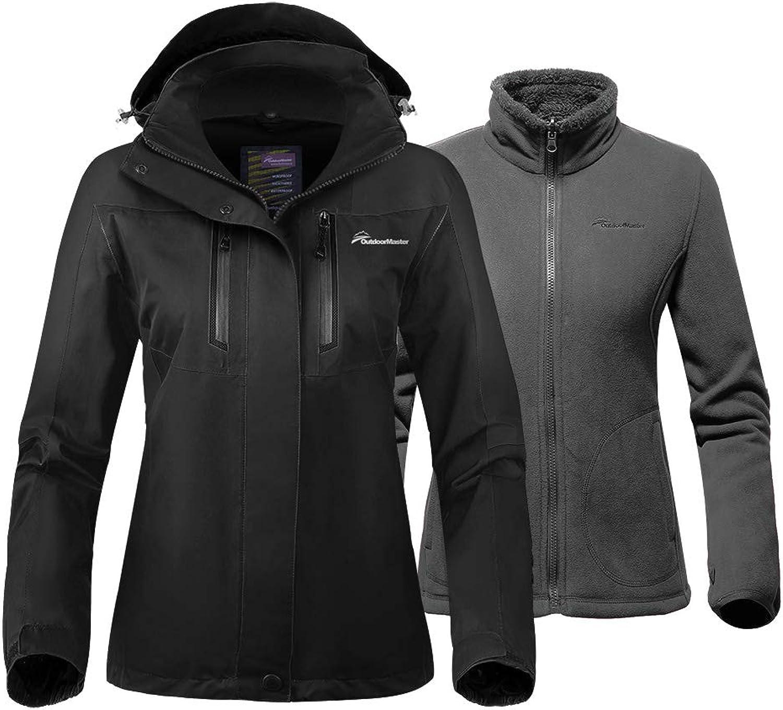 OutdoorMaster Women's 3in1 Ski Jacket  Winter Jacket Set with Fleece Liner Jacket & Hooded Waterproof Shell  for Women