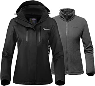 Women's 3-in-1 Ski Jacket - Winter Jacket Set with Fleece Liner Jacket & Hooded Waterproof Shell - for Women