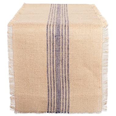 DII 14x108  Jute/Burlap Table Runner, Stripe French Blue - Perfect for Fall, Thanksgiving, Catering Events, Farmhouse Décor, Dinner Parties, Weddings or Everyday Use