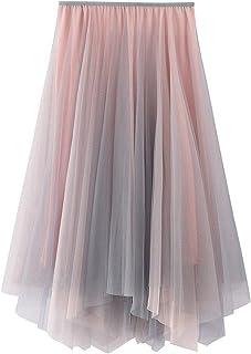 ZJMIYJ Kjolar för kvinnor – Gradient mesh midikjol hög midja 3 lager veckade asymmetriska festkjolar vår kvinnors eleganta...