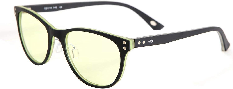 AHT Blue Light Blocking Glasses Women/Men - Computer Reading/Gaming Glasses, Rivet Inlaid Retro Black-Lemon Frame, 100% UV Protection, Eyeglasses Non Prescription