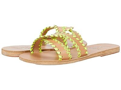 Ancient Greek Sandals Desmos Stitch (Natural/Fluo Yellow Vachetta/Fabric) Women