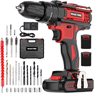 WAKYME 21V Cordless Drill Driver 35Nm Electric Screwdriver, Cordless Screwdriver 1500mA Power Drill 1.5h Fast-Charging & C...