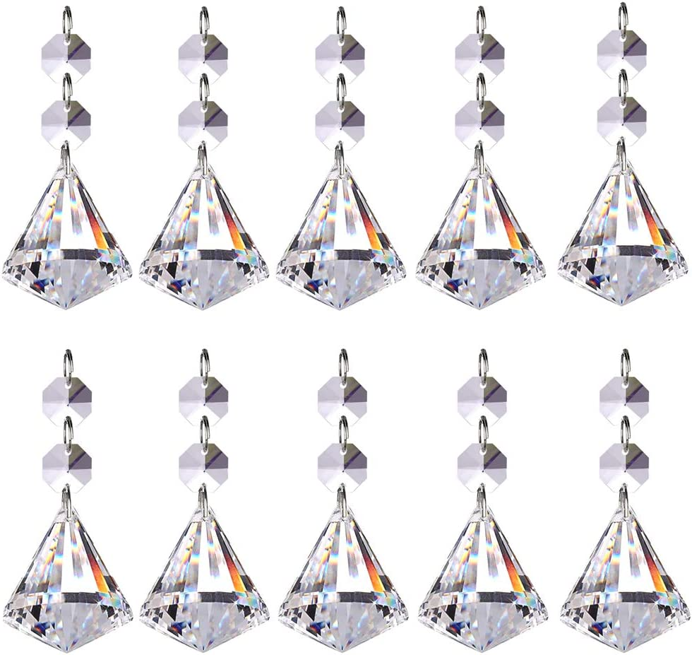 supreme Pack Ultra-Cheap Deals of 10 Crystal Glass Ball Prisms Pendants Chandelier Parts B