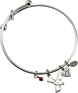 Cathedral Art PRB174 Communion Silver Bangle with Dove Charm, Adjustable
