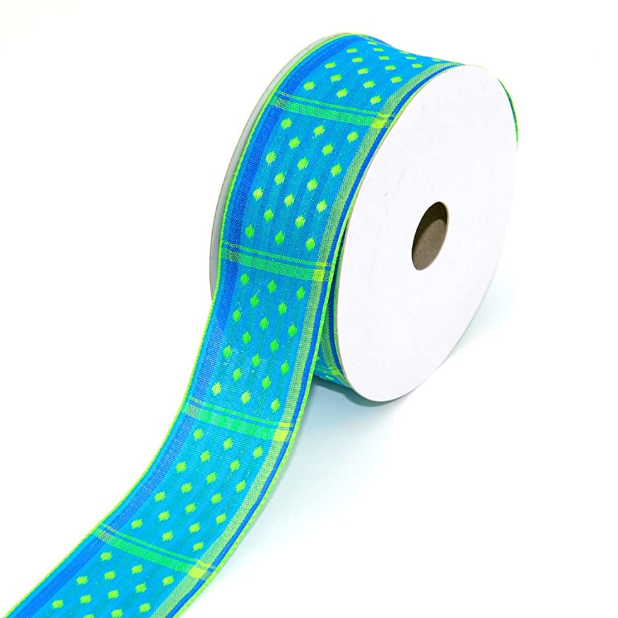 Creative Ideas Fabric 1-1/2-Inch Wired Dippy Dots Ribbon, 10-Yard, Blue