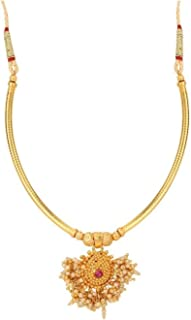 Indian Traditional 14 K Gold Plated Black Beaded Temple Pendant Necklace Jewelry for Women