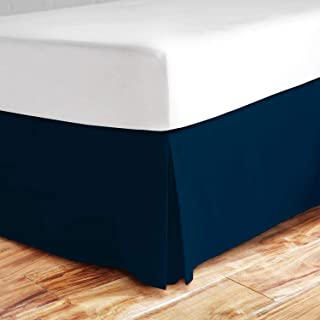 Valencia Beddings Split Corner Bed Skirt 21 Inch Drop Queen Size 100% Natural Cotton Wrinkle and Fade Resistant Queen Size, Navy Blue Solid