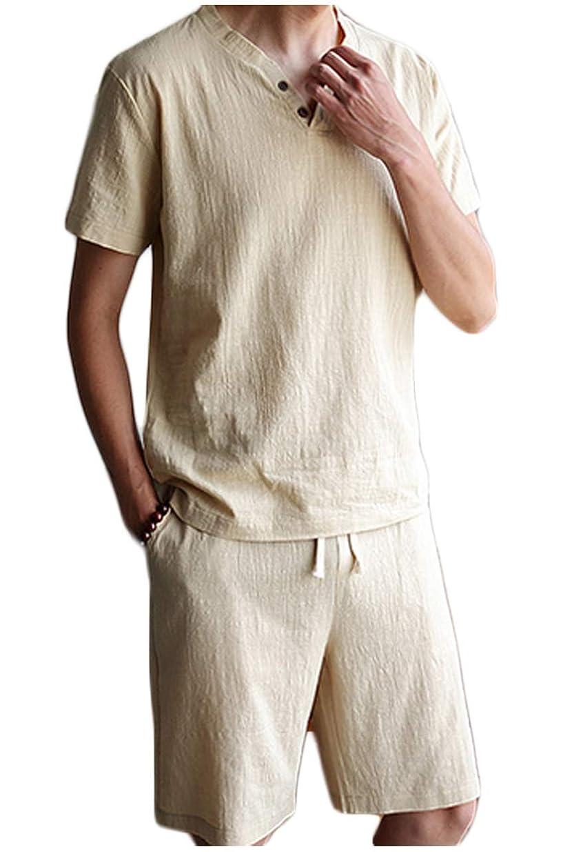 湿地アーチ習熟度[フェイミー] ルームウェア 半袖 短パン 上下セット 部屋着 ウエスト紐 首元 ボタン 春 夏 M ~ 3XL メンズ