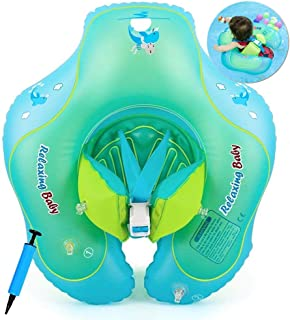 COSORO Baby Swimming Float,Newborn Baby Learn to Swim Inflatable Trainer-Adjustable Inflatable Baby Pool Float,Baby Swimmi...