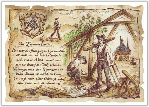 Die Staffelei Geschenk Zimmerleute Zimmermann Schreiner Zeichnung Color 30 x 21 cm