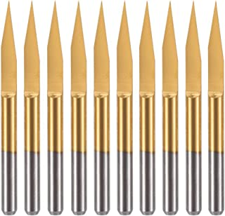 HUHAO 25 Degree Router Bit 0.1mm Tip 10PCS Carbide Coated V Groove Engraving Milling Cutter Woodworking