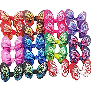 Chenkou Craft 20pcs(10pairs) Assorted Color Lots Pet Dog Hair Bows Butterfly W/Clip Party Dog Grooming (Butterfly with Clip)