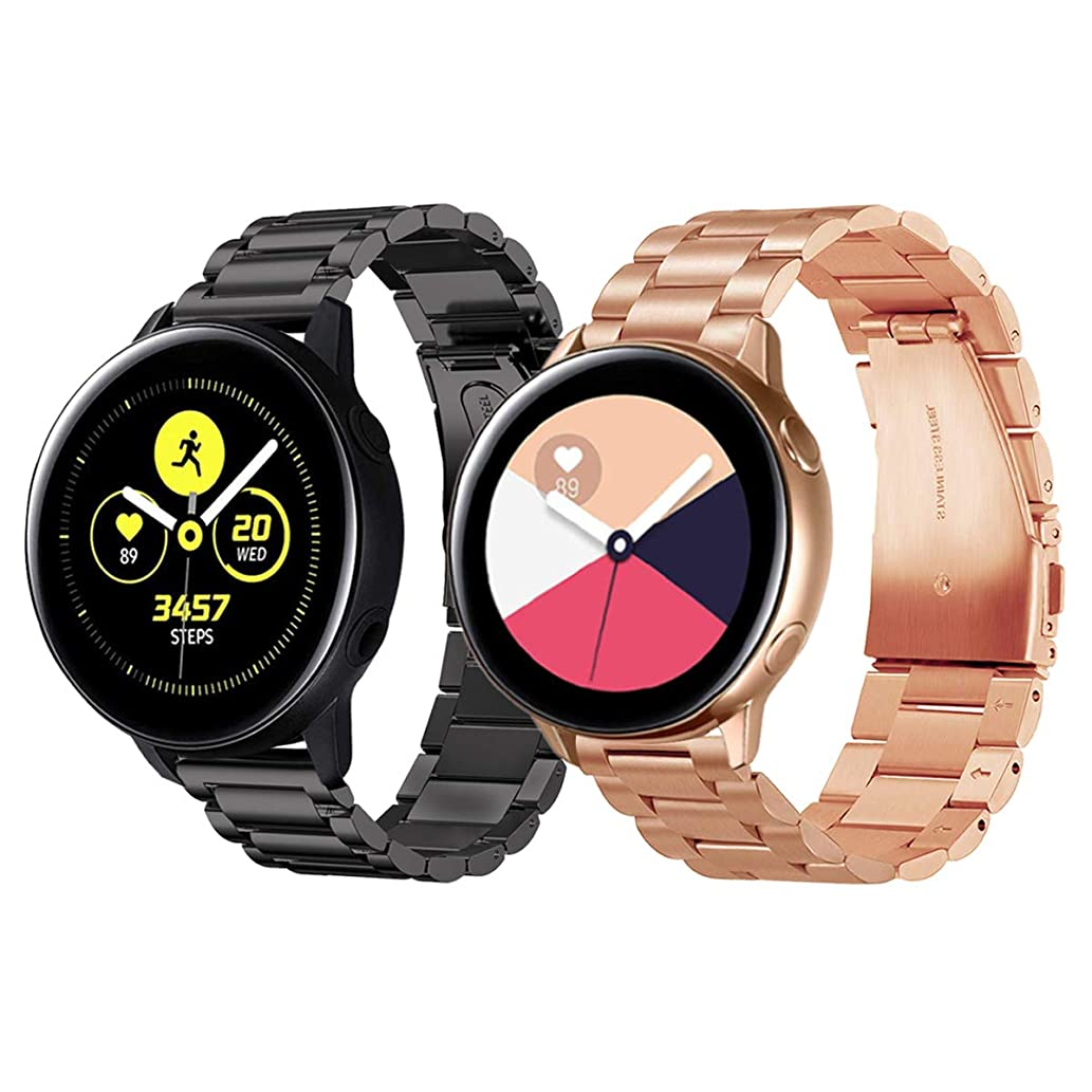 Valkit Compatible Galaxy Watch Active (40mm) Bands, 2 Pack 20mm Stainless Steel Band, Solid Metal Wrist Band Strap Business Bracelet Replacement for Samsung Galaxy Watch Active 40mm SM-R500