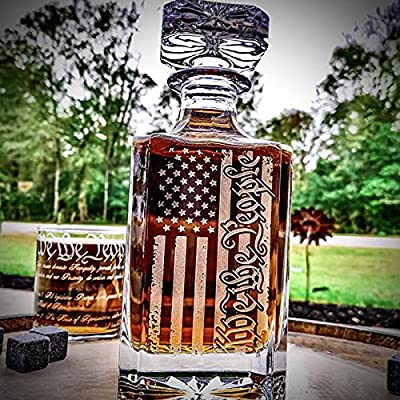 Amazon - Save 50%: American Flag Whiskey Decanter Engraved We The People, Gorgeous Americ…