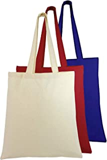 Natural Cotton Canvas Tote Bags Bulk Plain Fabric for Crafts, DIY, Vinyl, Decorate, Shopping, Groceries, Teacher, Books, Gifts, Welcome Bag, Diaper Bag, Beach (Assorted Colors, 3)