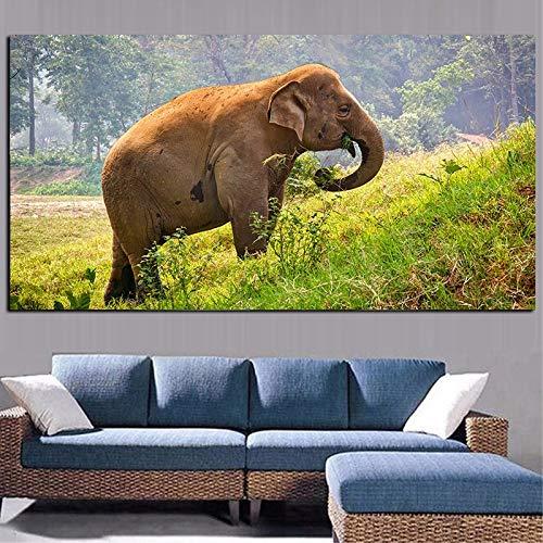 wZUN Elefante pastando Hierba Verde y árboles Paisaje Pintura al óleo sobre Lienzo Carteles e Impresiones Arte Abstracto Cuadros de Pared de la Sala de Estar 60x120 Sin Marco