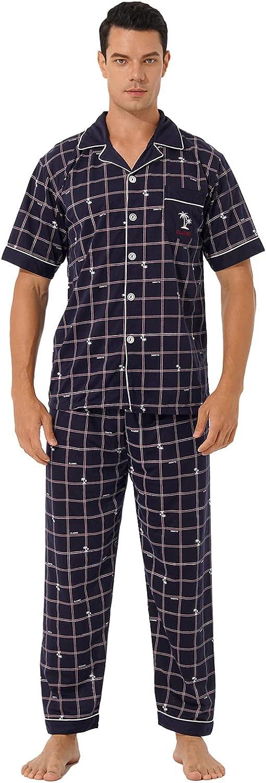 YiZYiF Men's Two Piece Pajama Set Cotton Plaid/Stripe Sleepwear Short Sleeve Top & Bottom Pants PJ Set