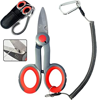 BXIO Fishing Scissors with Fishing Lanyard and Nylon Sheath, Braided Line Tools, Heavy Duty Anti-Slip Fiber Cable Cutter, Stainless Steel Fishing Pliers Scissors with Grinding Hook Tool