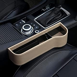 Funda de piel sintética universal para asiento de coche con compartimento lateral multifunción para guardar monedas
