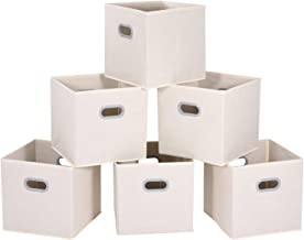 MaidMAX Cloth Storage Bins Cubes Baskets Containers with Dual Plastic Handles for Home Closet Bedroom Drawers Organizers, ...