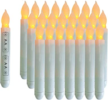 Youngerbaby Set of 24 Yellow Mini Battery Operated Wax Dipped White Body LED Taper Candles, Flameless Taper Candles for Wedding, Christmas, Thanksgiving -Batteries Not Included