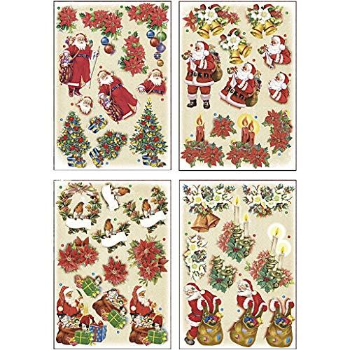 Motivi 3D per decoupage, foglio 21 x 30 cm, con Babbo Natale e stelle di Natale, 4 fogli