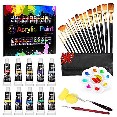 Gifort Acrylfarben Set, 24 x 12 ml FarbPigmenten Inklusive 15PCS Pinsel Set Malen, Acrylfarben auf Wasserbasis für Steine, Holz, Papier und Leinwand, Acryl Farben Set für Kinder, Bastler, Profis