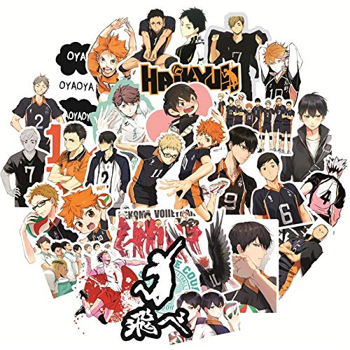 XIAMU Japón Anime Haikyuu !!Pegatina de Dibujos Animados para Equipaje, portátil, monopatín, Coche, Bicicleta, Mochila, calcomanía, Pegatinas de Juguete, 50 Uds.