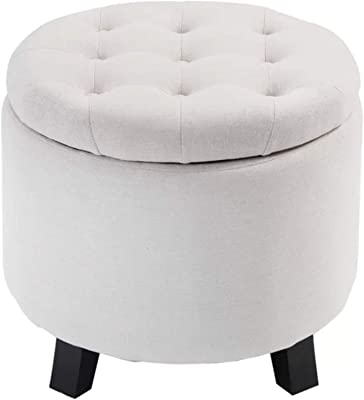 Astonishing Amazon Com Storage Ottoman Seat Nailhead Trim Large Round Gmtry Best Dining Table And Chair Ideas Images Gmtryco