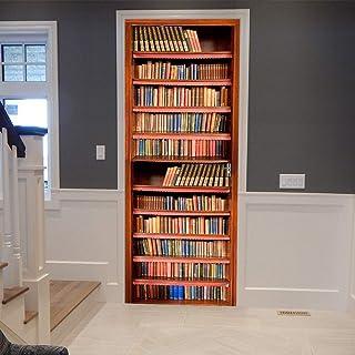 Deurstickers 3D Retro Boekenkast 3D Deursticker