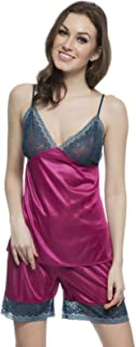 Clovia Women's Camisole and Shorts Set in Purplish Pink