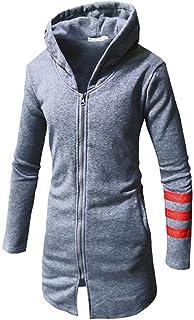 WUAI Mens Winter Mid Long Winter Hood Jacket Casual Lightweight Zip Up Cardigan Long Trench Coat Jacket