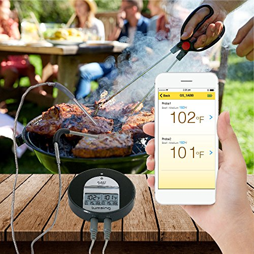Lumsing Thermometer, Cooking Thermometer, Meat Thermometer, Kitchen Thermometer Bluetooth for Kitchen BBQ Grill Smoker Oven Thermometer with Two Stainless Steel Temperature Probes